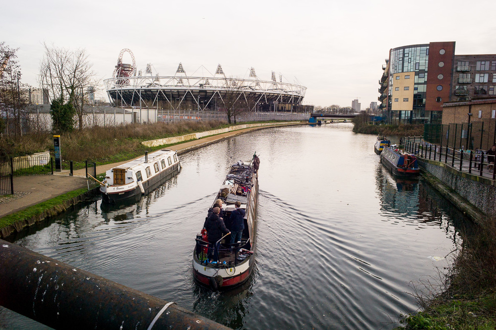 Ben's Narrowboat & Olympic Stadium, London