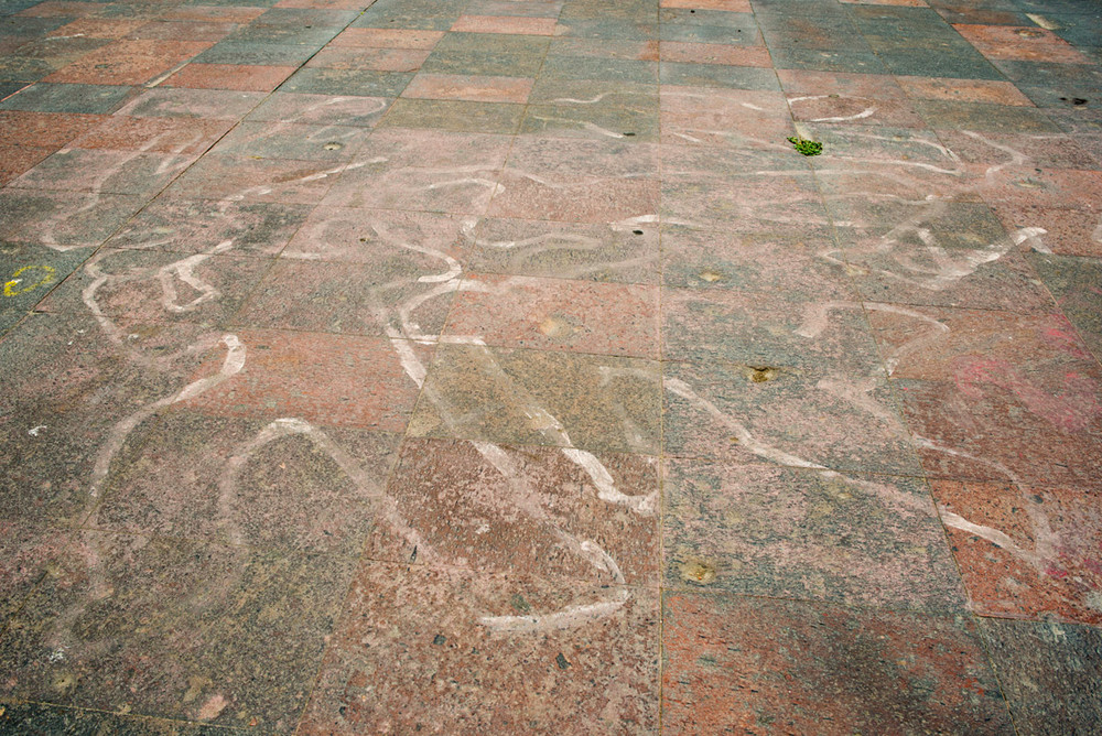 Chalk Tribute to the Victims of the Tlatelolco Massacre, Square of the Three Cultures, Tlatelolco, Mexico City