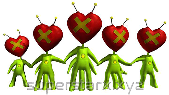 """This is a 3D-version of  """"The Love Aliens Family""""  (aka The Weatherlys), based on original artwork, with the same title, by  Edward K. Weatherly ."""