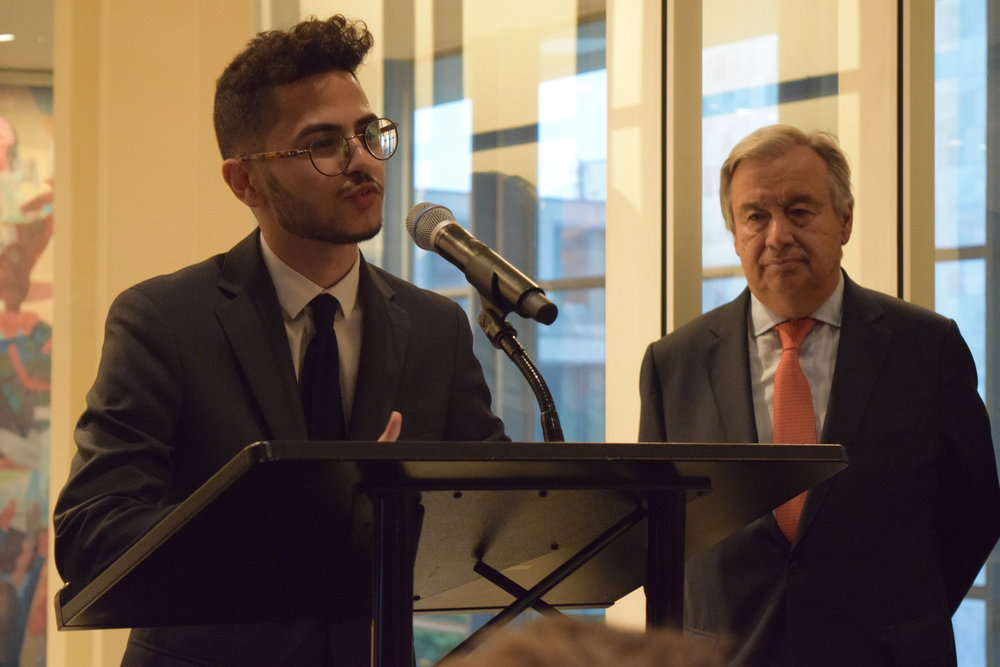 Ahmed speaking at a private United Nations reception celebrating World Refugee Day 2017. Pictured: Antonio Guterres, UN Secretary-General