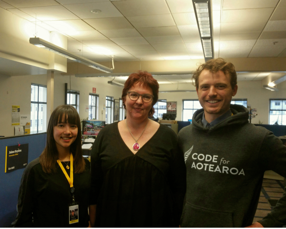 Us with Phillipa Bowron, Head of Innovation at Wellington City Council, who we're working with over the next three months