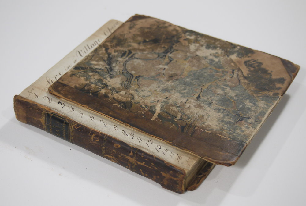 Love in a Village , 1787, a half-leather bound volume with both boards off.