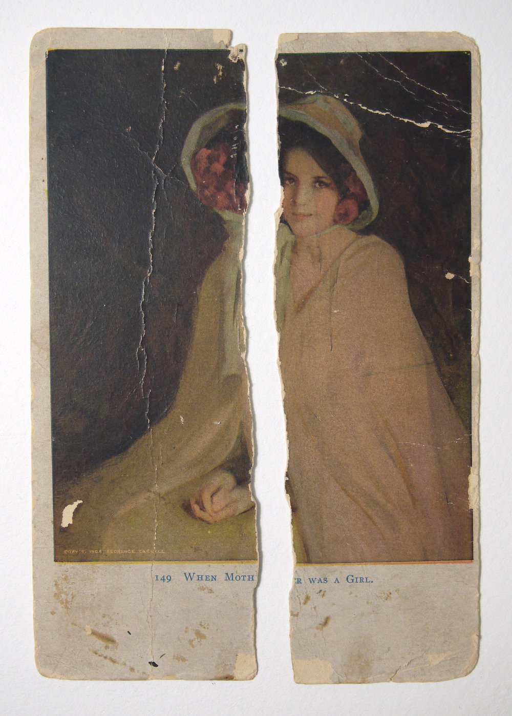 When Mother Was a Girl,  postcard of a painting by Florence Carlyle.