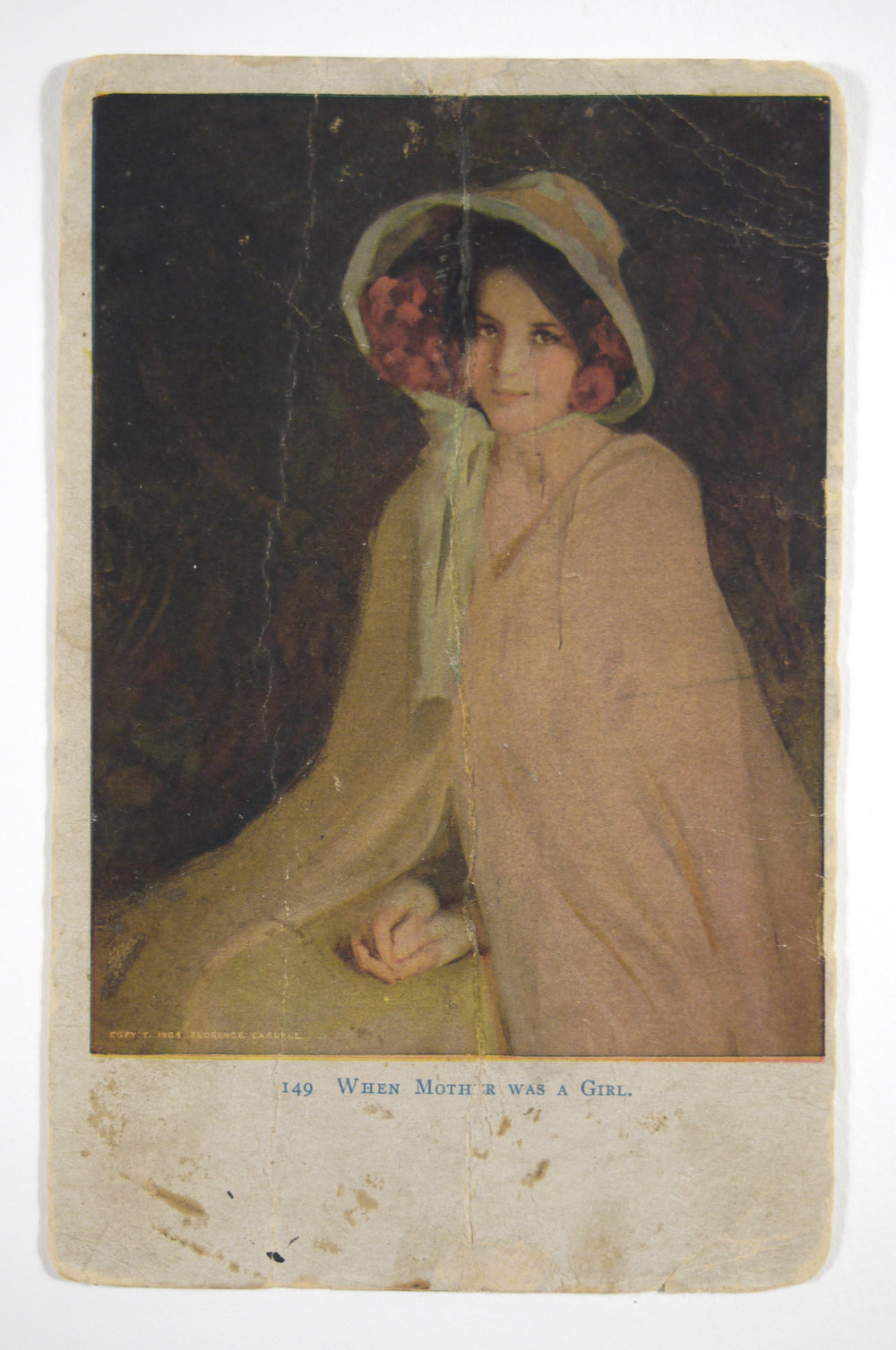 Florence Carlyle postcard after conservation treatment.