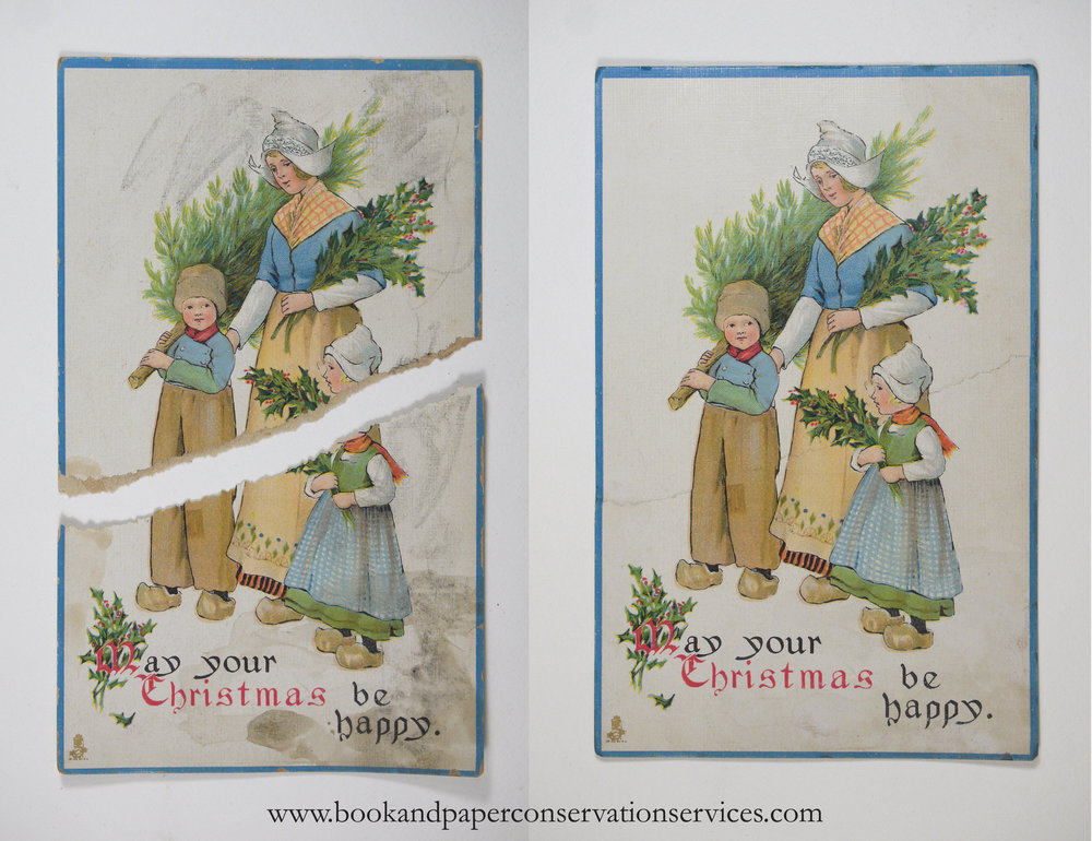 Stains and a tear have been repaired on this antique christmas greeting card.