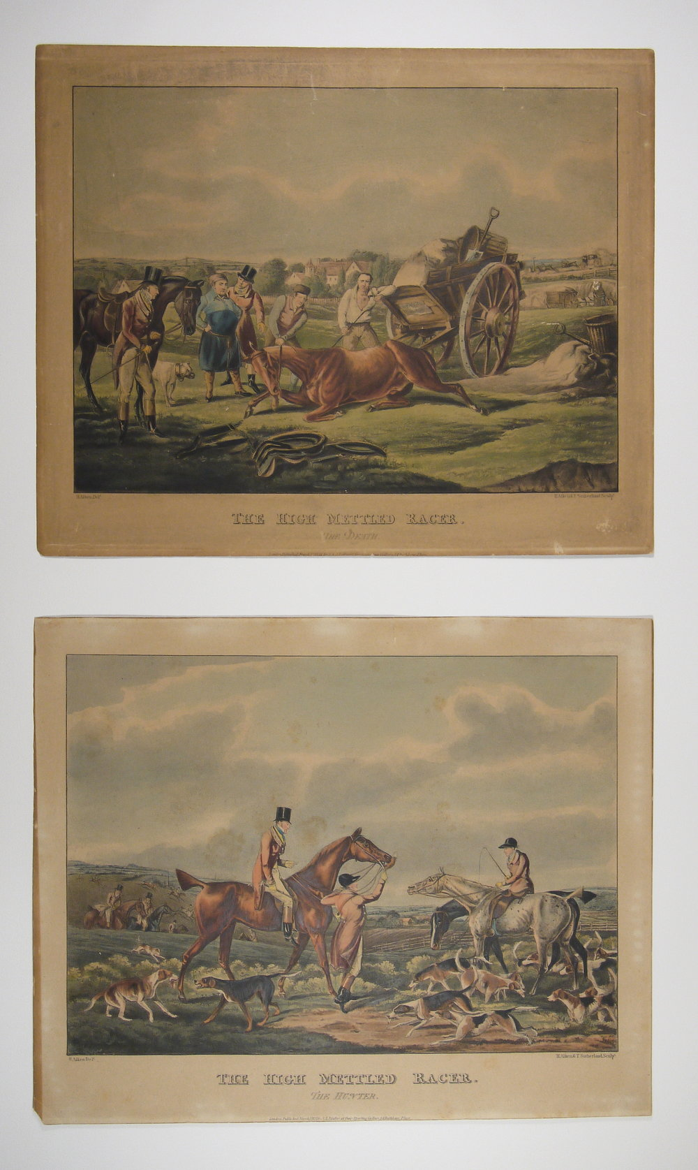 Before conservation: two prints from the same set, the top print significantly darker.