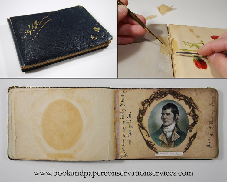 conservation of an antique keepsake album book and paper