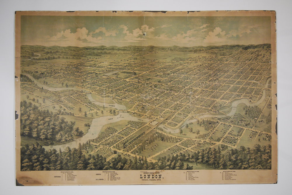Bird's Eye View of London, Ontario, Canada, 1872, before conservation treatment.