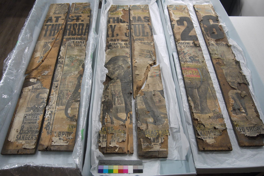 P.T. Barnum Circus posters featuring Jumbo the Elephant, before conservation treatment.