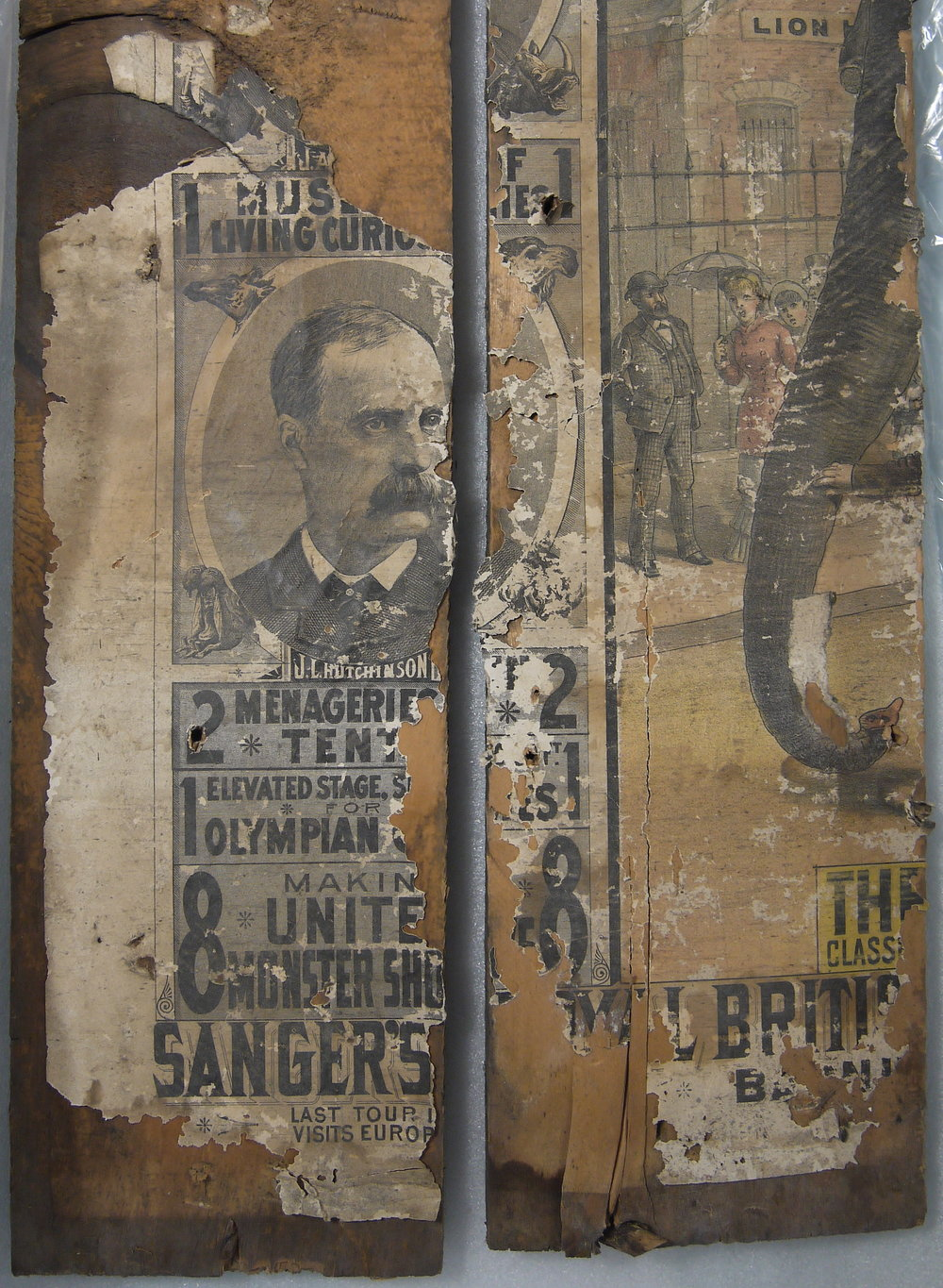 Detail of posters before conservation.
