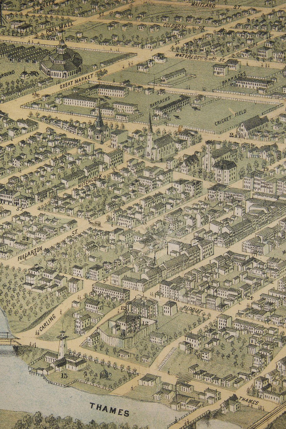 Detail of the 1872 map showing streets of London, Ontario, and the Military Garrison in what is now Victoria Park.