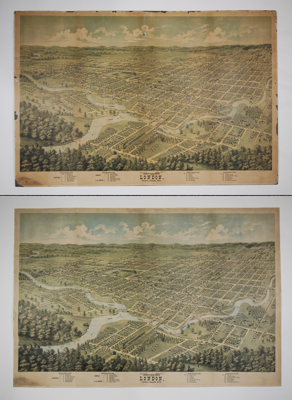 Bird's Eye View of London, Ontario, Canada, 1872, before and after conservation treatment.