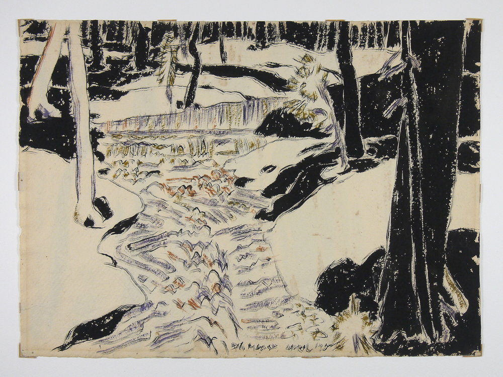 Big Moose , David Milne, watercolour on paper, before conservation treatment. Staining and mat burn disfigure the image.