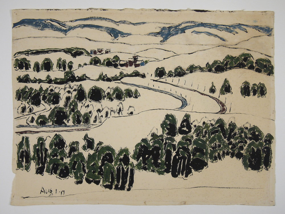Weed Mines , David Milne, watercolour on paper; after conservation treatment. The staining across upper area of image has been dramatically reduced, restoring the integrity of the artwork.