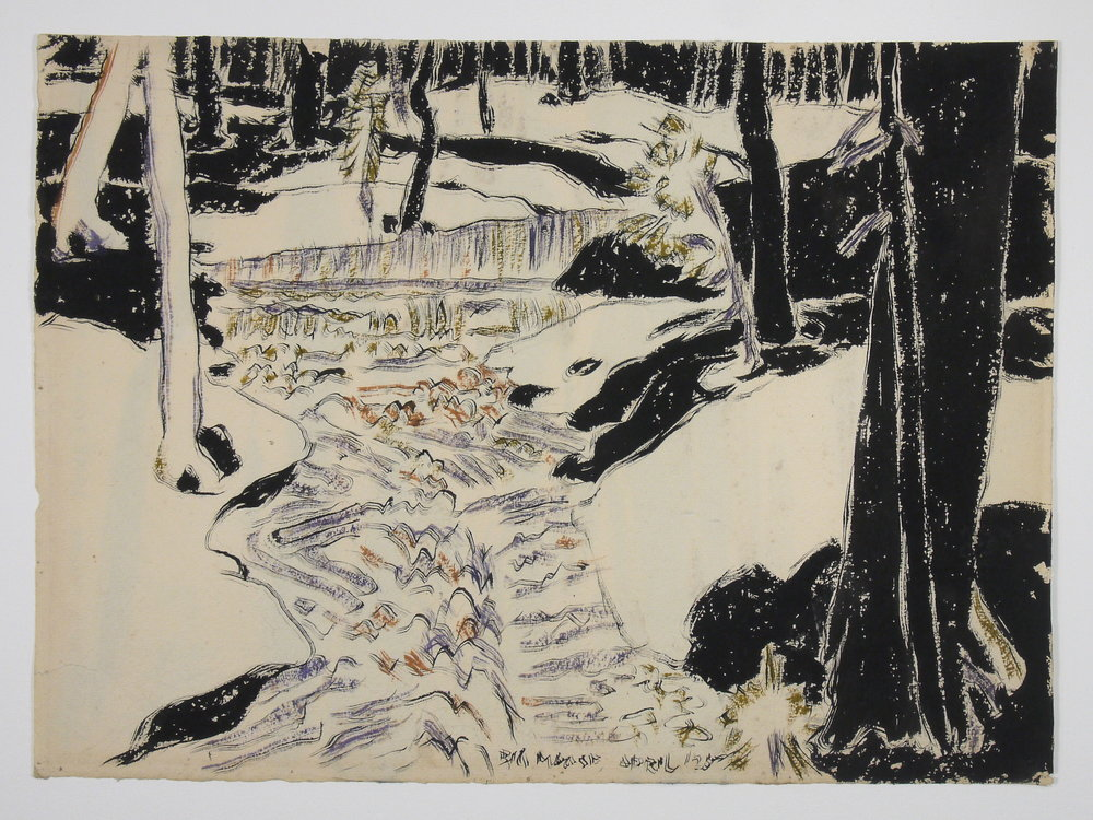 Big Moose , David Milne, watercolour on paper; conservation treatment has reduced stains so they no longer detract from the image.