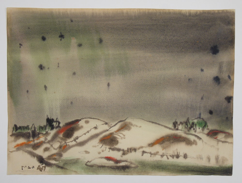 Last Snow of Winter , David Milne, watercolour on paper; after conservation, mat burn has been eliminated so the image can be viewed out to the perimeter.