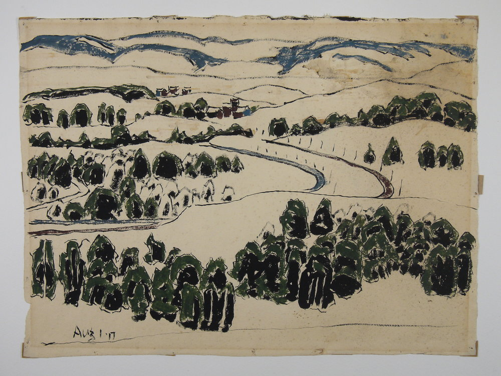 Weed Mines , David Milne, watercolour on paper; before conservation, dramatic staining in the upper right quadrant disfigures the work.