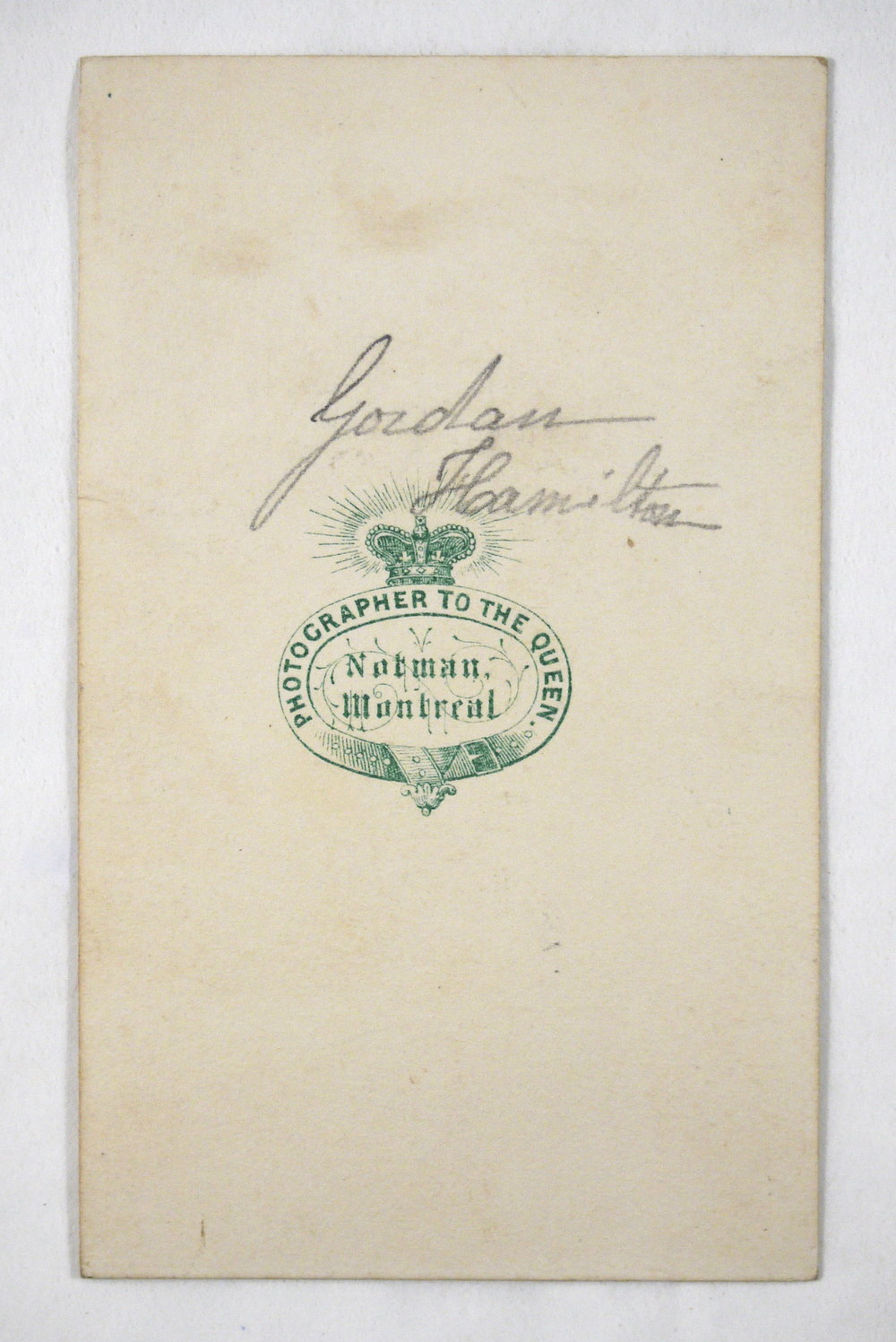 Verso of carte de visite, with inscription in graphite and logo of the Notman Studio, Montreal, Canada.