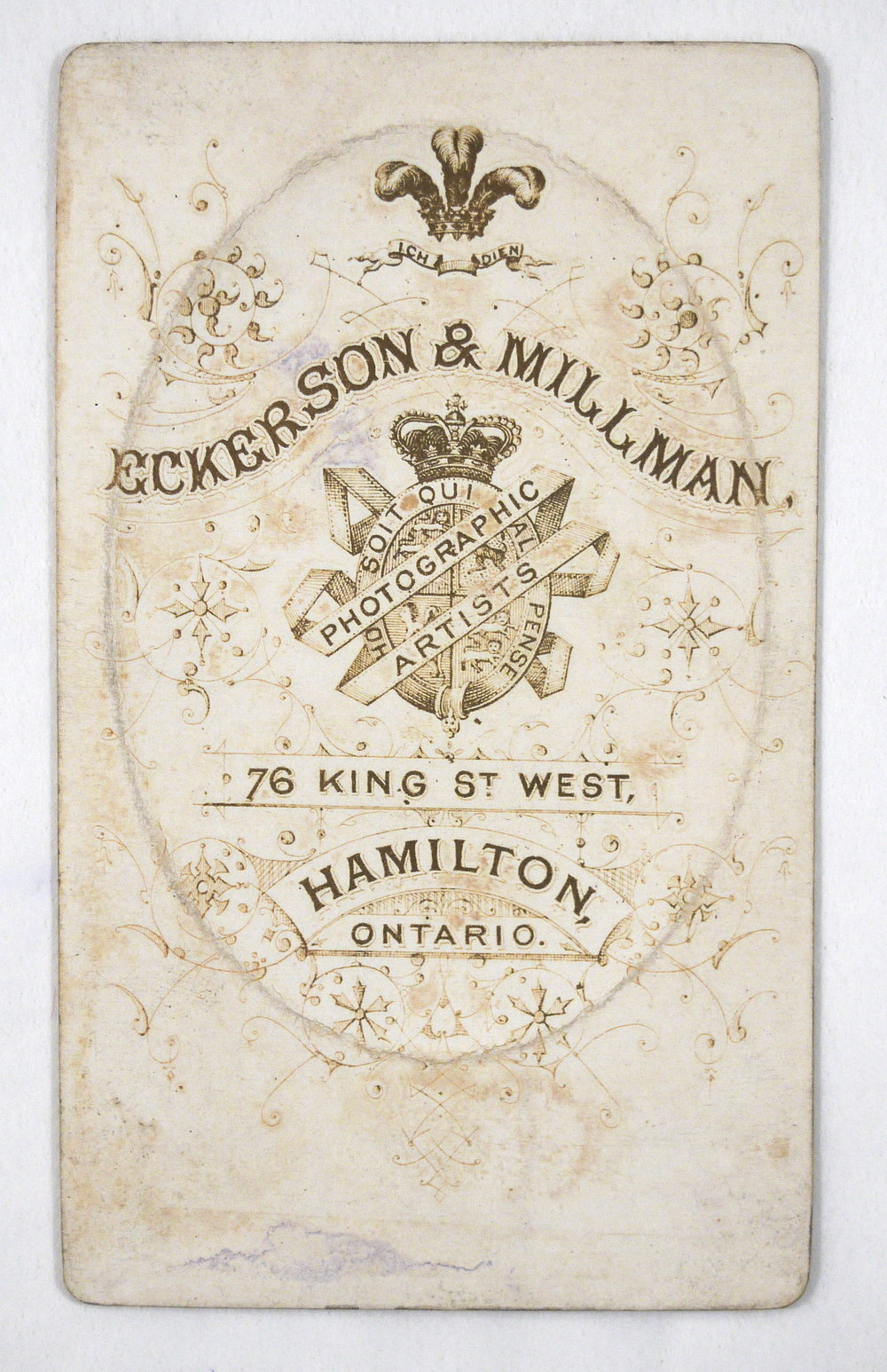 Carte de visite - Canadian photography studio logo on verso