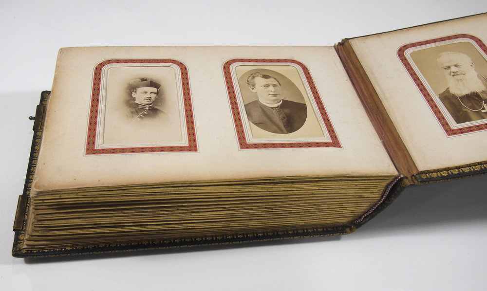 After conservation treatment, the Bishop Crinnon carte de visite photograph album is clean and stable.