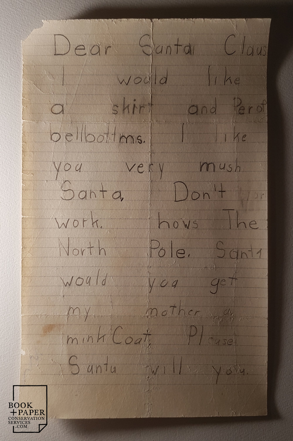Letter to Santa, after conservation.
