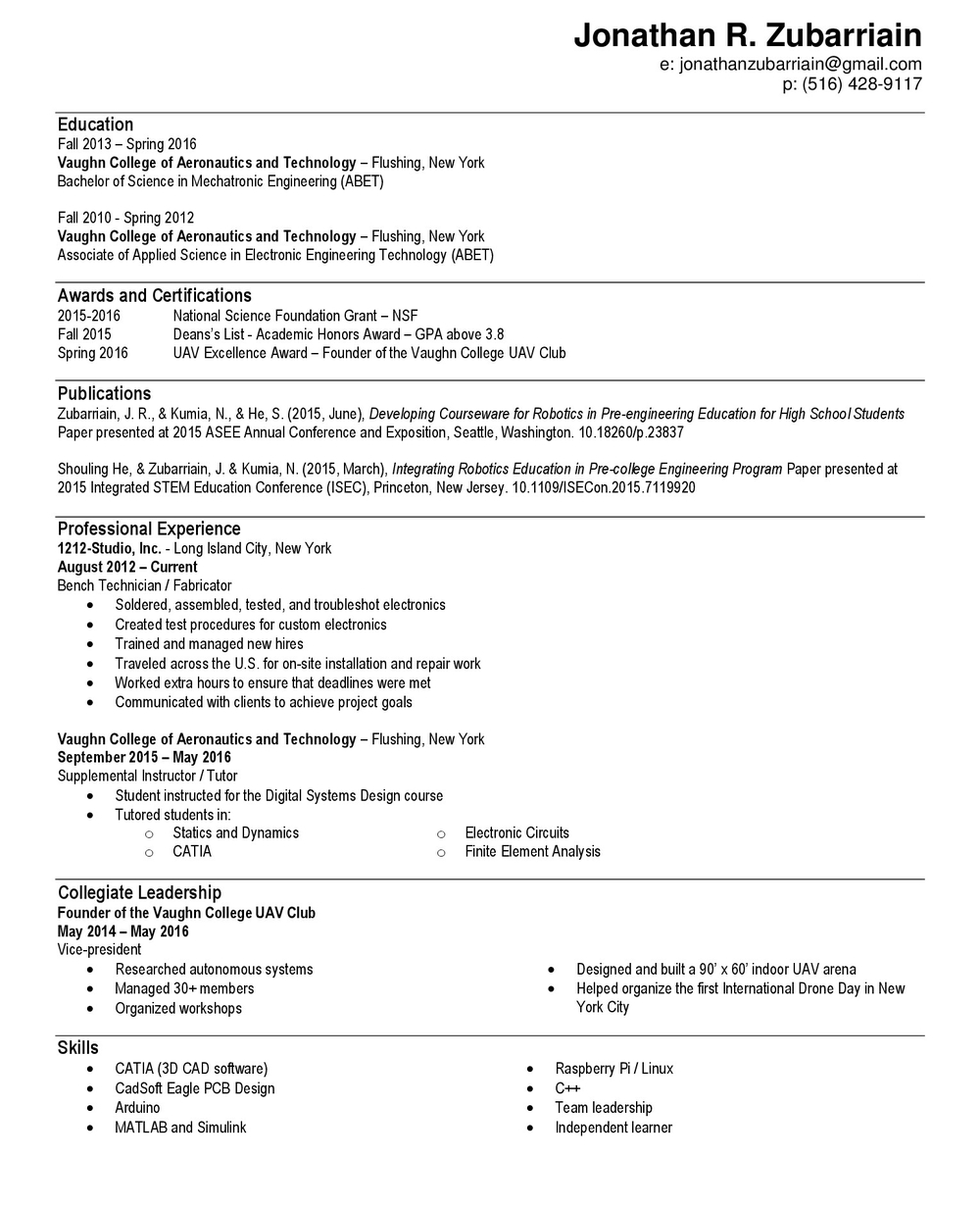 Resume — Jonathan Zubarriain