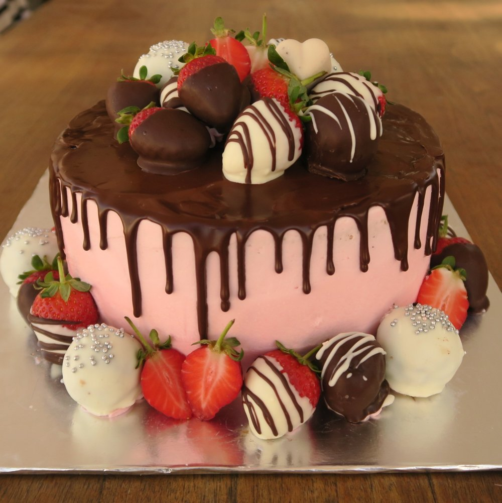 Choc Berry cake with chocolate drip and fresh berries.jpg