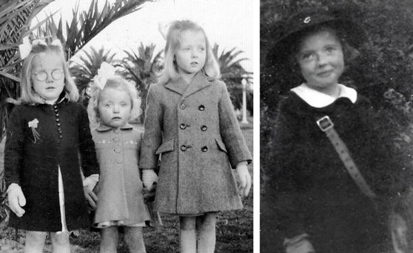 Left: Robina, Julie and Jan Right: Jan dressed up for first day at school