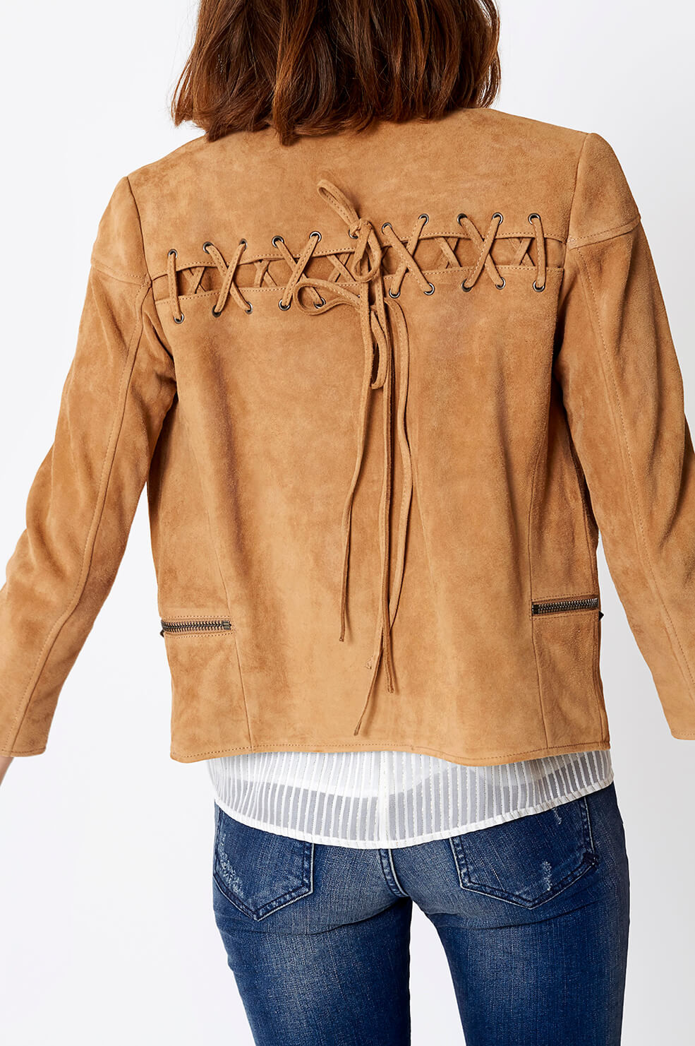 Anine Bing - Suede Jacket with Lacing detail      https://www.aninebing.com/collections/jackets/products/suede-jacket-with-lacing