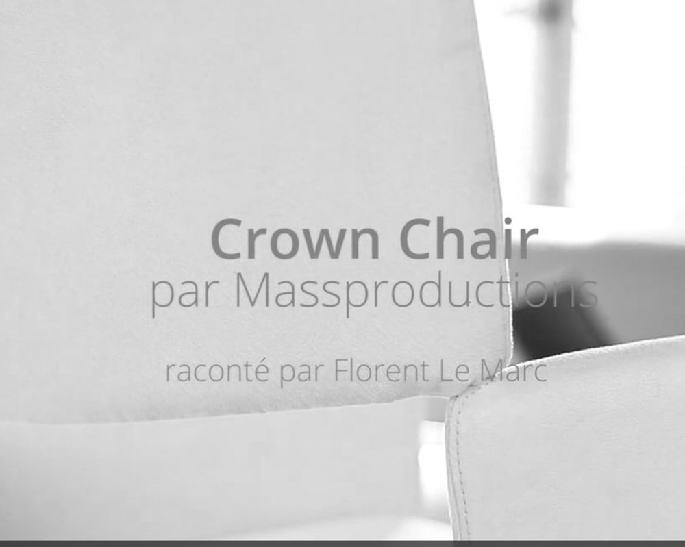 PRODUCTION OF VIDEO PRESS RELEASE - MASSPRODUCTIONS   October 2017 - Pernille Christiansen creates a video press release during Swedish Fashion Now to present the Crown Chair by Massproductions.    Octobre 2017 - Pernille Christiansen crée un communiqué de presse vidéo lors de Swedish Fashion Now pour présenter la chaise Crown Chair par Massproductions.