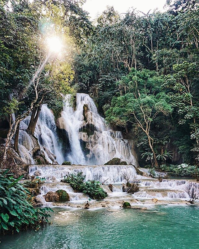 The beautiful Kuang Si Falls are just an hour from Luang Prabang city. There are lots of different areas to swim in so bring your bikini. 👙