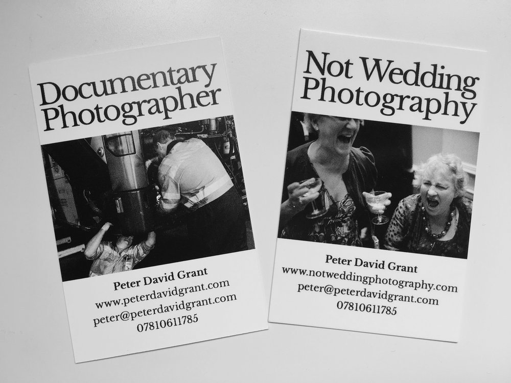 On the back of mine, I've got my wedding business. As I noticed that when talking to those I'm capturing, they've often asked if I do weddings. Now I can give them something that shows both of my photographic avenues.