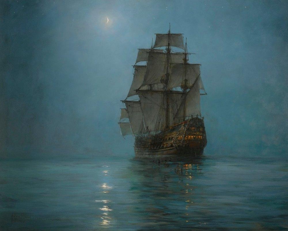 Montague Dawson (1895-1973), The Crescent Moon