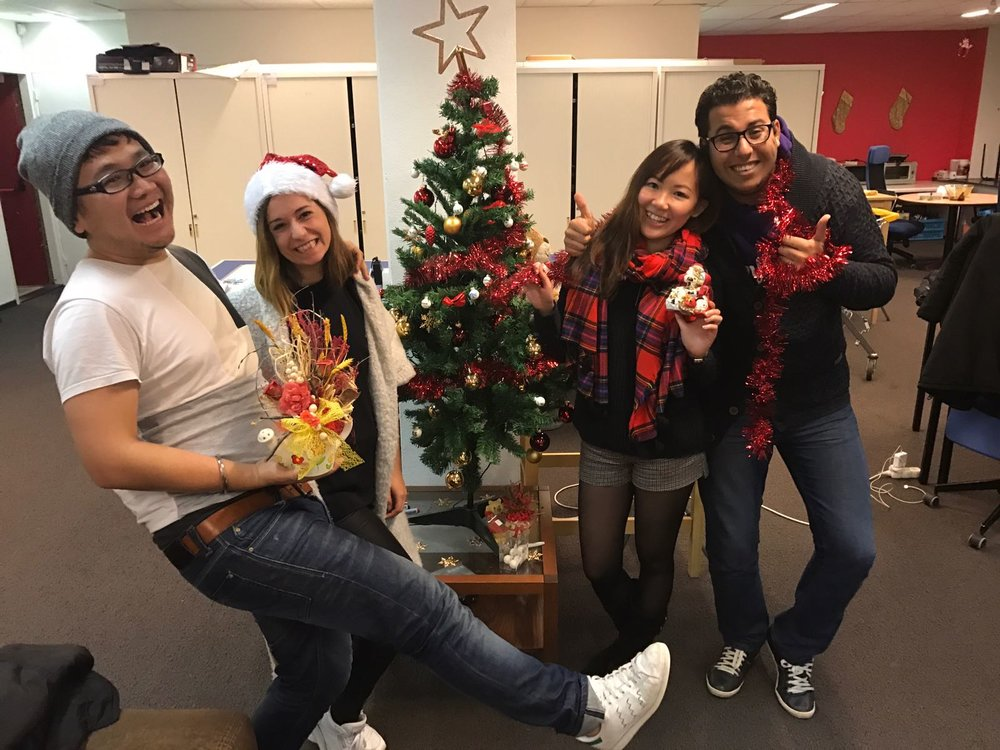 Chuck, Carmen (MCVP TM of Switzerland), Cherry (MCVP TM of U.K.), Yassine (MCVP TM of Belgium) saved Christmas for AIESEC
