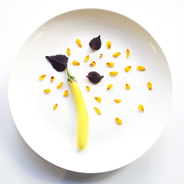 Eggplant. Marigold. Britton Shiso. Grown in Manhattan. #chef #cheflife #plantbased #veganfoodshare #vegansofig #herbs #eggplant #shiso #urbanag #urbanagriculture #edibleart #minimal #white #nycfood