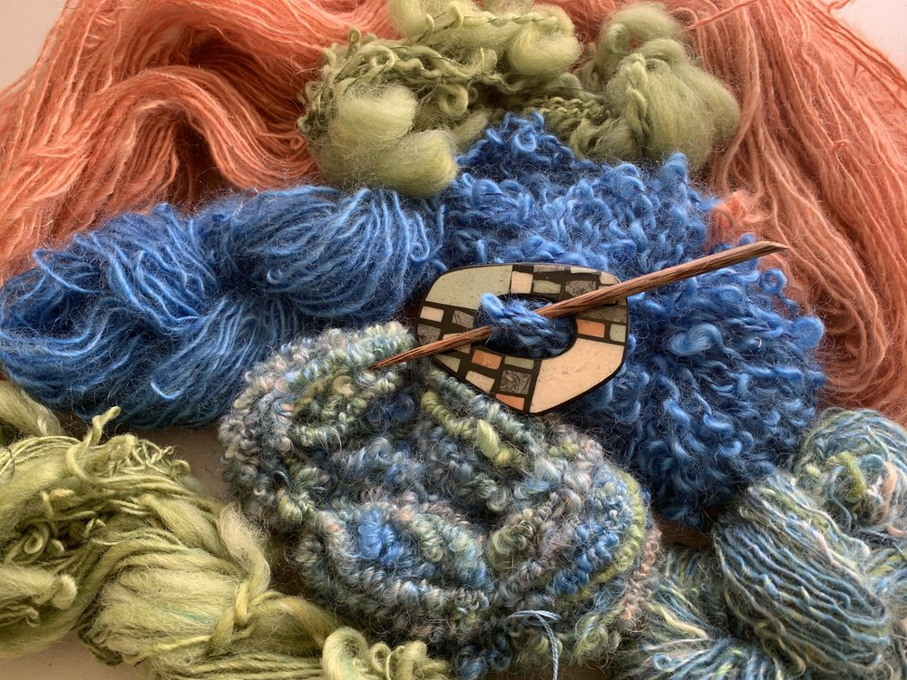 These yarns are part of my Blue Shawl Collection #2. All are grown here at the farm. Those animals clean up well!