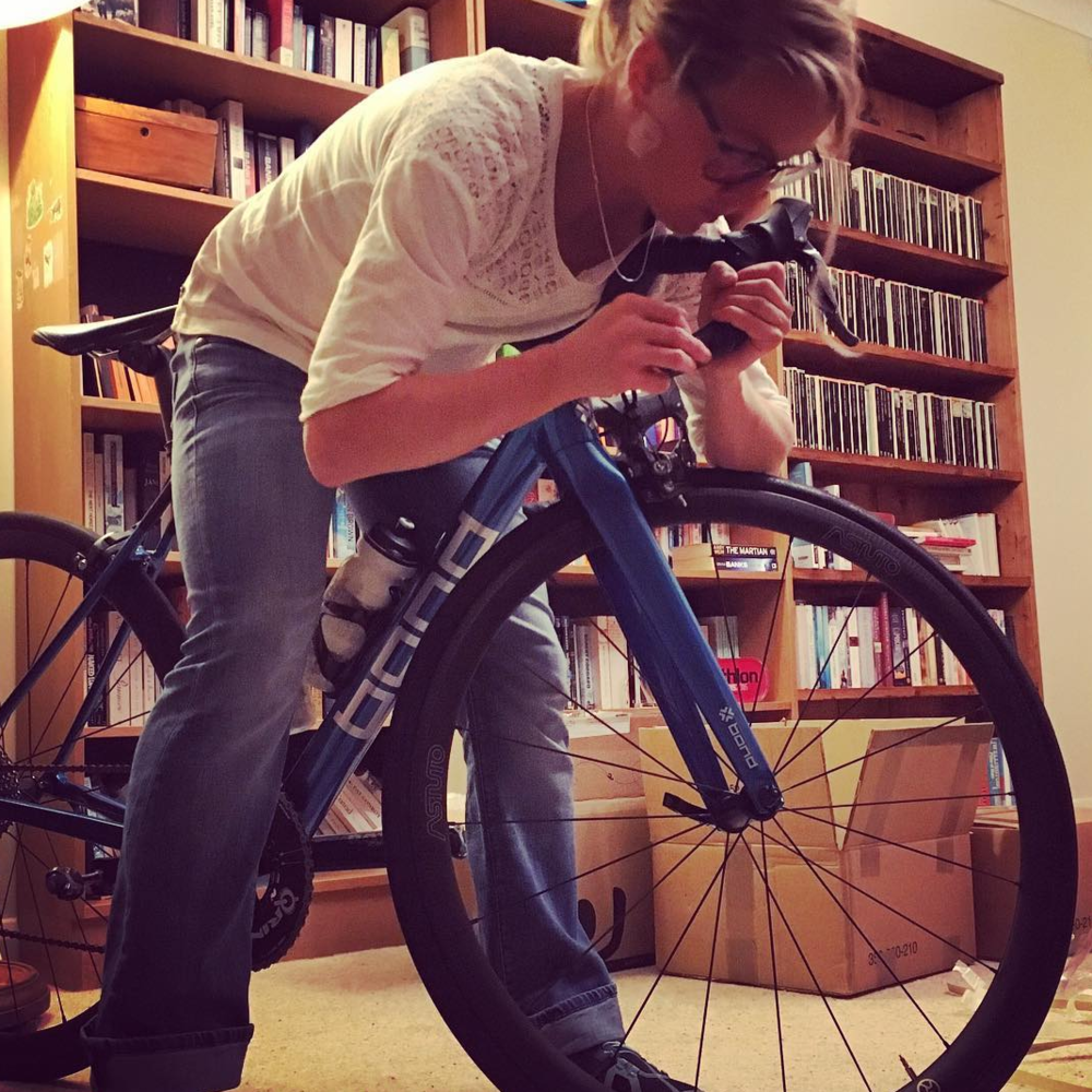 Emma gets to work on her bar tape!