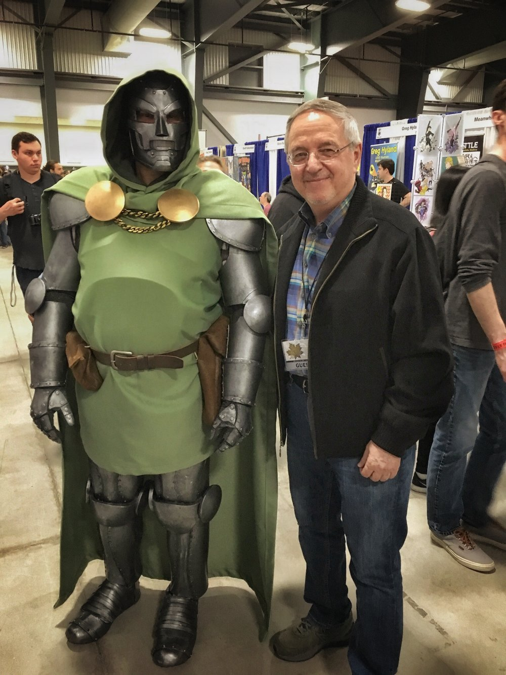 Doctor Doom, apparently living in Ottawa now, came out to snag a Secret Wars #10 print from me. Awesome costume! Completely handmade!