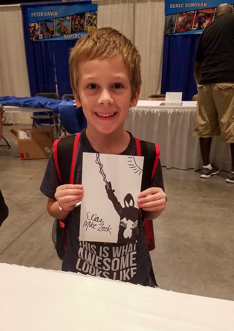 He drew his best Spider-Man ever that day.