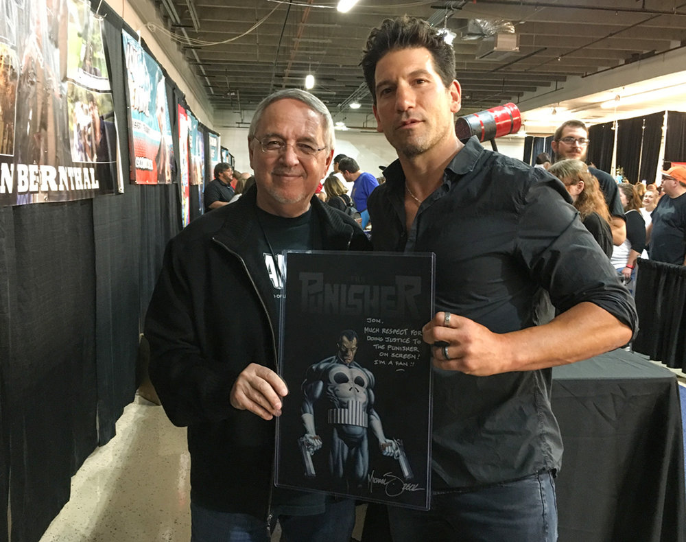 "Thanks to the folks at Colorado Springs Comic Con for creating a ""Punisher event"" in August! Happy to finally cross paths with Jon Bernthal (Marvel/Netflix Punisher) and personalize a Punisher print for him."