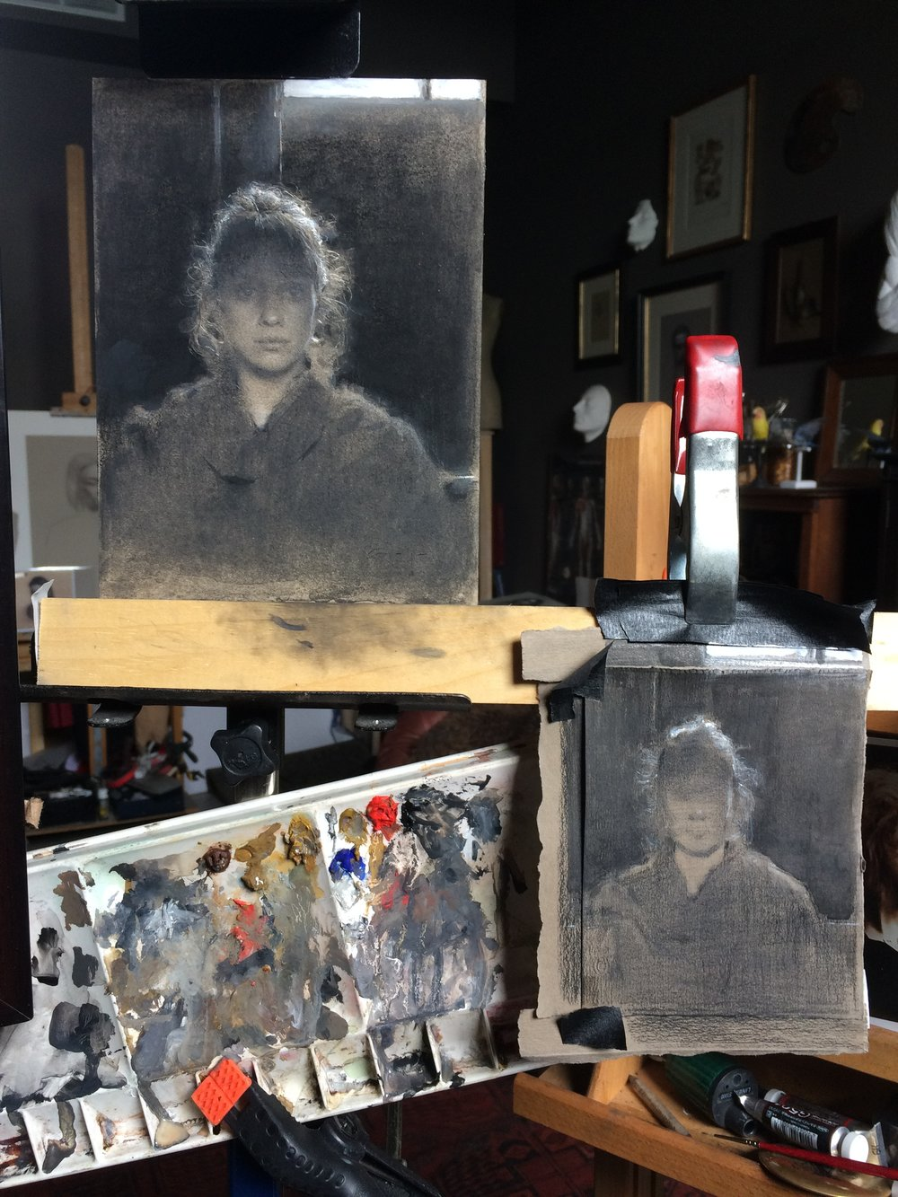 Drawing in process (upper left), concept drawing (lower right) and the gouache palette with some of the colors and mixed values.