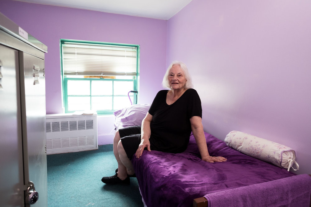 New bedroom in a homeless shelter in the East Village