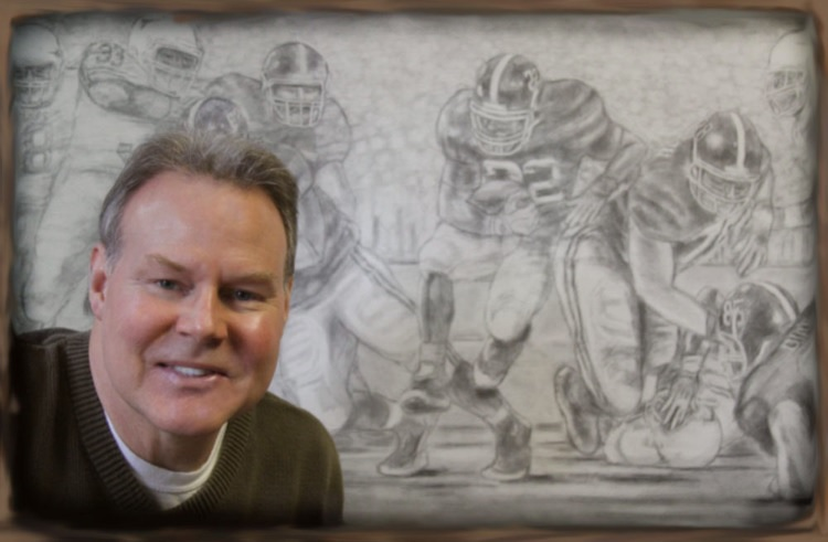 """In my studio preparing my preliminary drawing for my original oil painting """"Champions Again""""."""