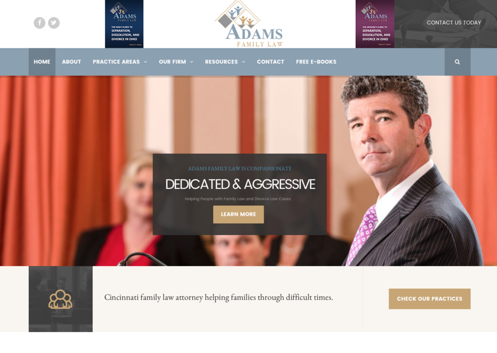 Adams Family Law - A well-known, aggressive DUI lawyer opens a family law practice and needs a website that shows how his extensive criminal experience makes him the perfect guy to handle your divorce. You can read my bios and practice area pages here.