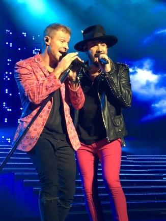 Brian Littrell and AJ McLean perform. Photo by Jessica Klausing.