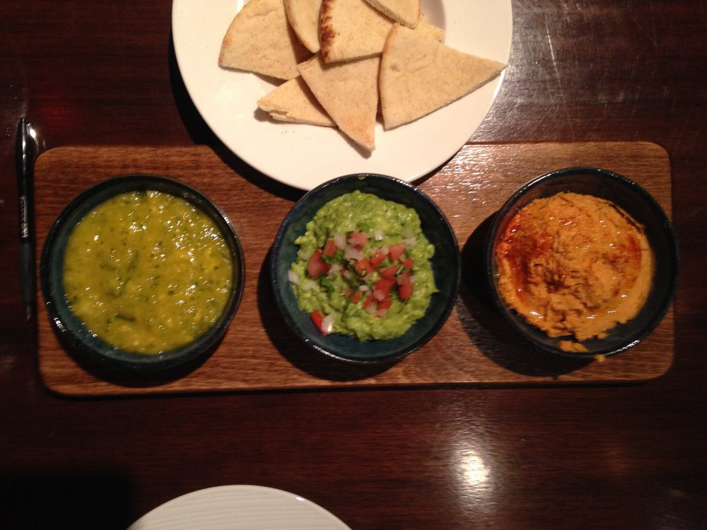 Pineapple Mango Salsa, Guacamole, Smoked Paprika Great Northern Bean Hummus