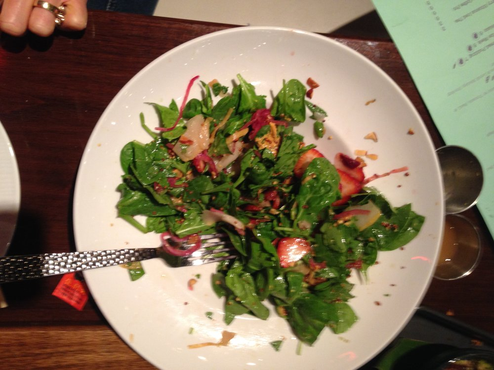 Strawberry Fields Salad with pears, spinach, strawberries, almonds, pickled red onions