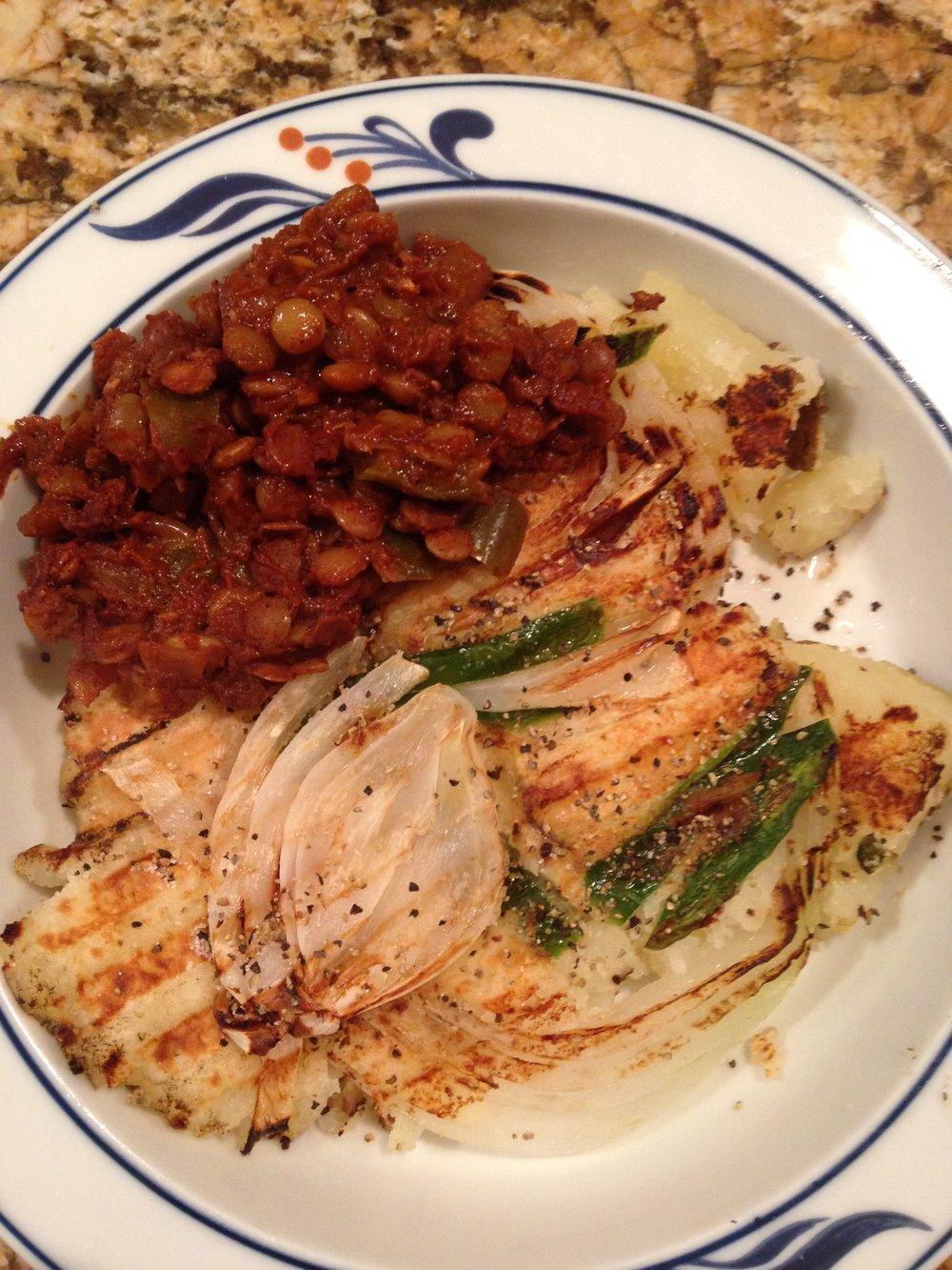 Smashed potatoes, onions, jalapeno in Panini maker, along side of sloppy lentils!