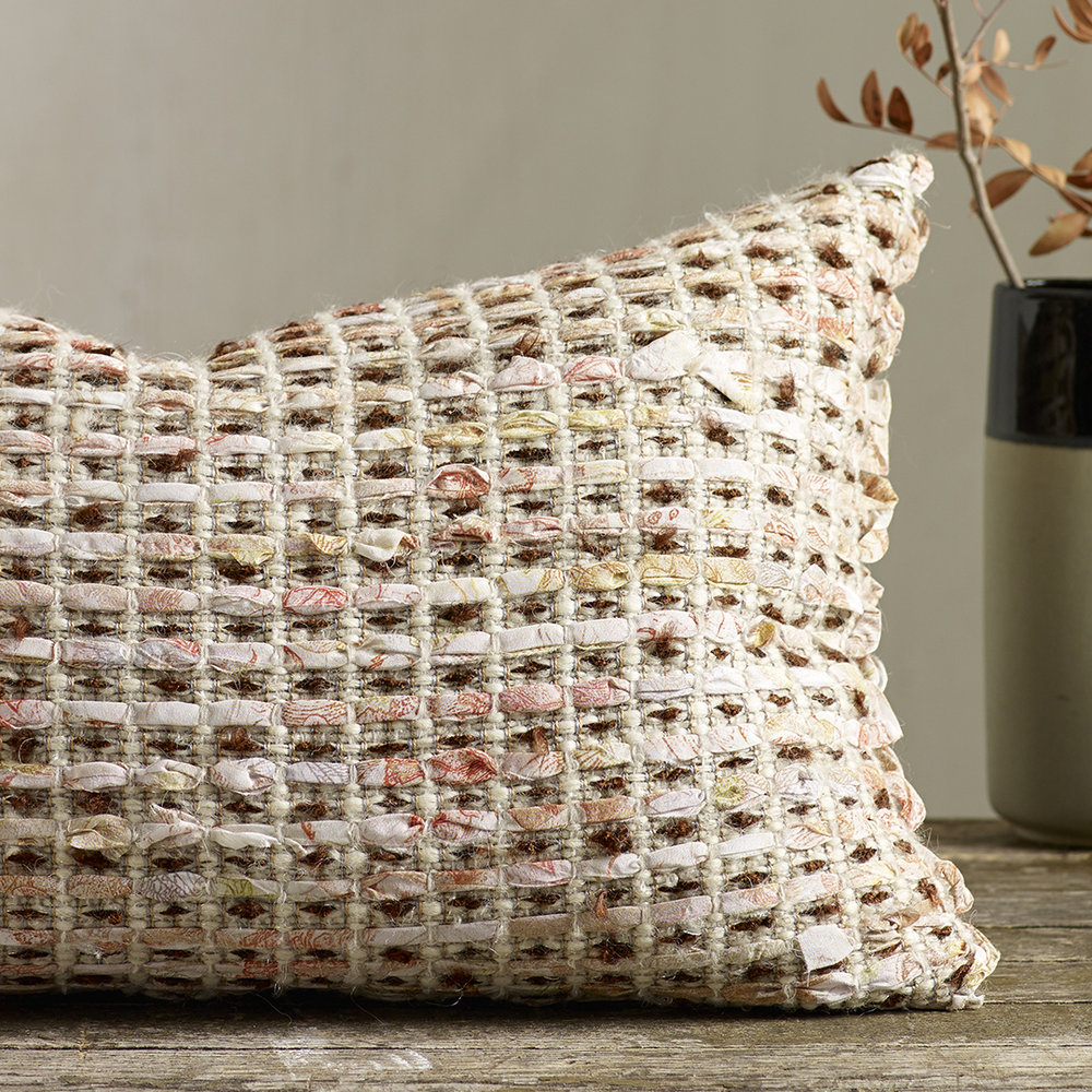 JUNE  - Hand woven cushion made with fine strips of printed silk crepe de chine. Wool/Tencel/Viscose/Lurex/Silk.