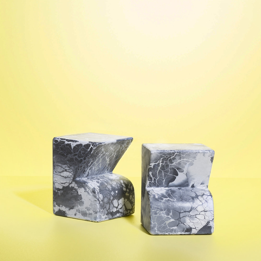 """CONCRETE BOOK ENDS  4.5"""" x 4.5"""" x 5.87"""" H  Black and white concrete, set of two"""